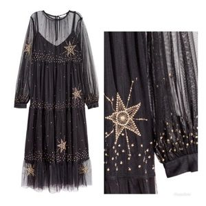 Sheer Mesh Dress with Gold Stars